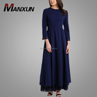 New Arrival Muslim Women Dress Pictures Navy Blue Long Sleeve Long Dresses Fashion Dubai Kaftan India