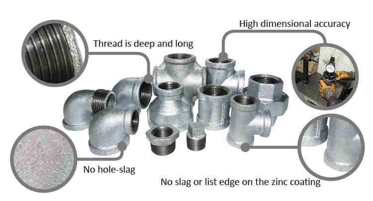 DIN Verzinktem Temperguss Fittings Stecker gewinde quadratischen ende stecker Für Öl Verbinden