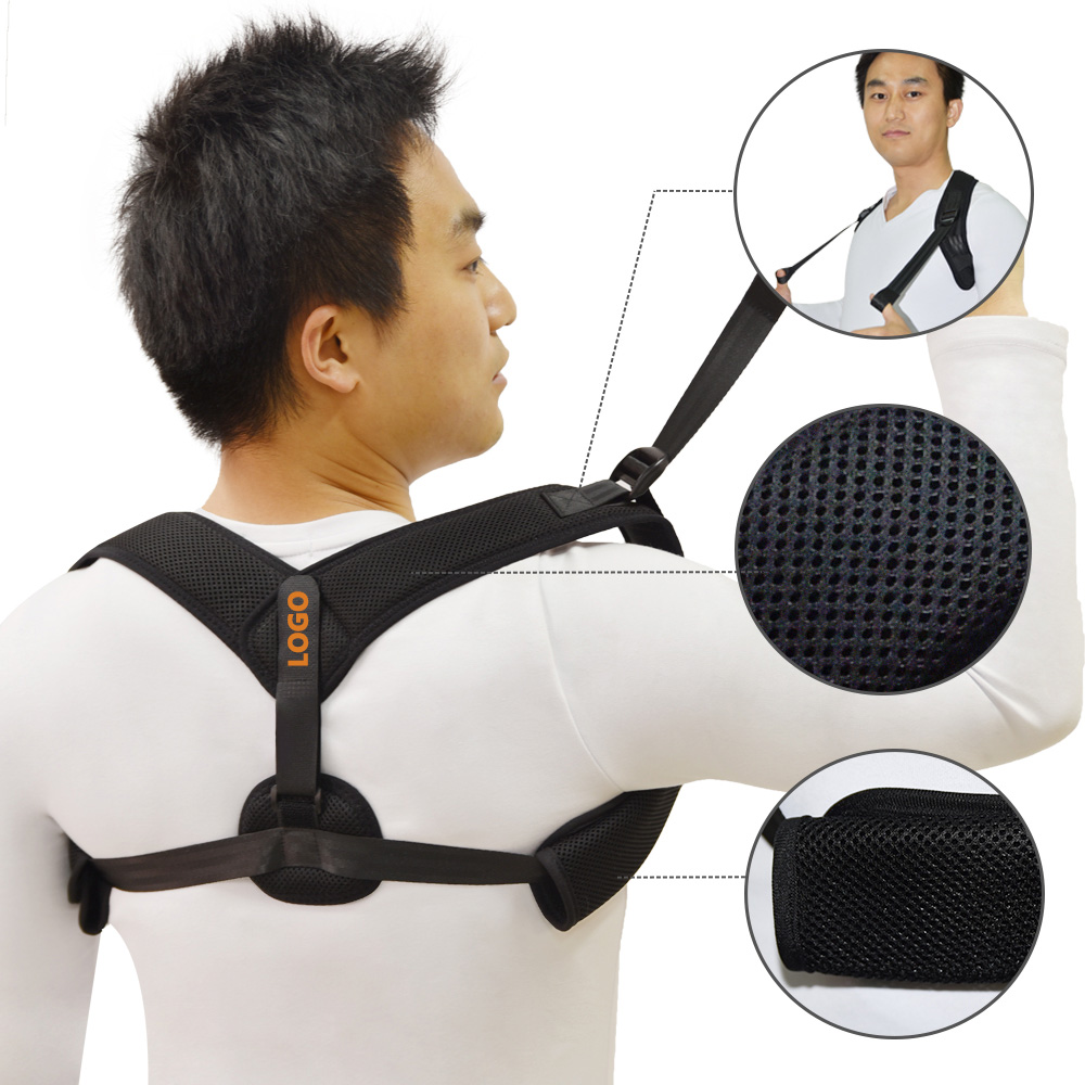High Quality Adjustable Back Brace Neck Pain Relief Posture Corrector Provides Lumbar Support Lower Upper Clavicle Brace, Black or customized