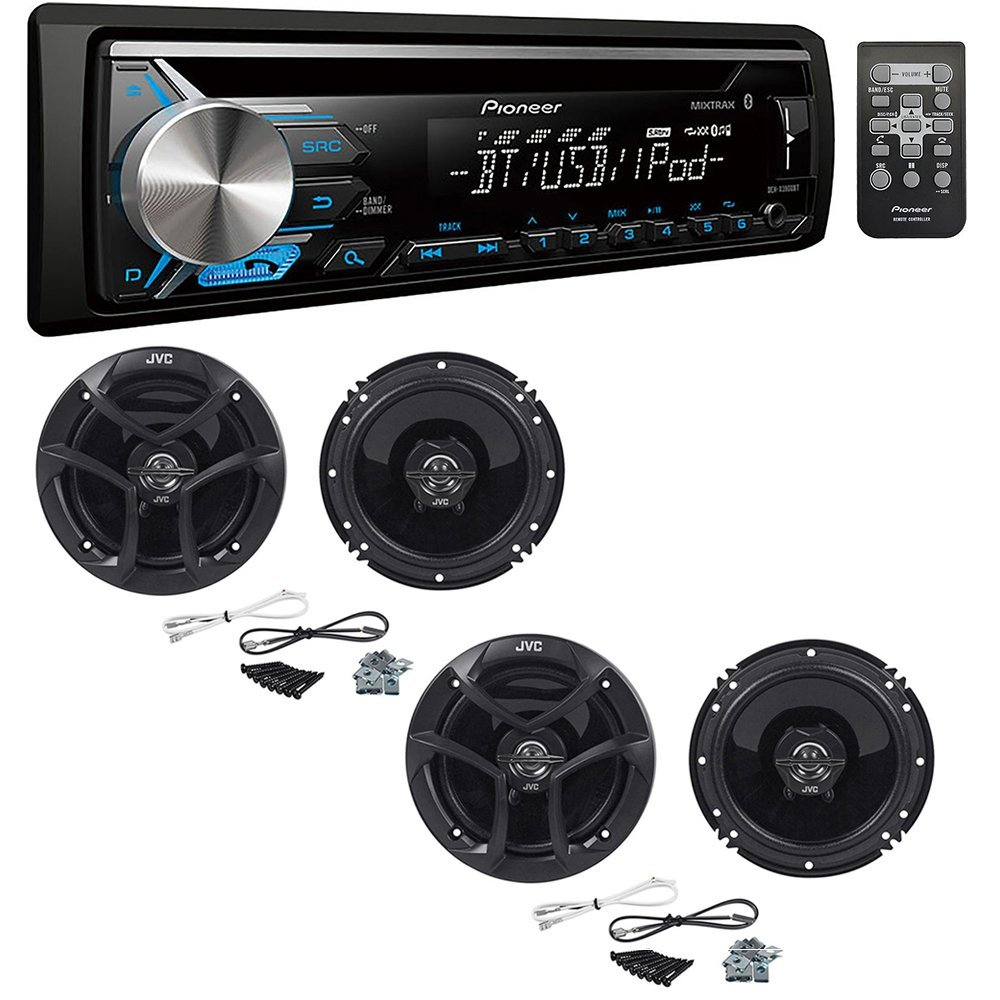 Pioneer DEH-X3900BT Single DIN Bluetooth In-Dash CD/AM/FM Car Stereo Receiver 2-Way Coaxial Car Speakers