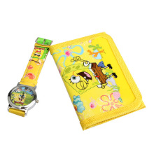 Hot Children's Cartoon Watches Lovely Spongebob Squarepants Quartz Watch With Purse  Yellow For Kids