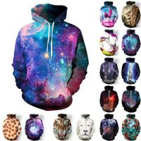 Women Men Galaxy Space 3D Print Crewneck Jumper Sweatshirt Hooded Hoodies Pullover Outwear