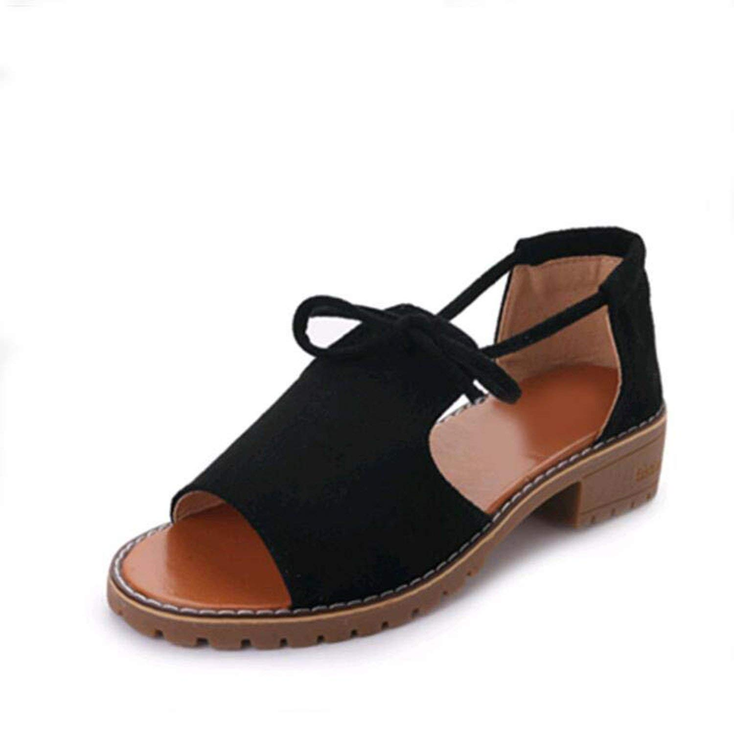 Romantic moments Women Sandals 2018 New Thick with Sandals Female Summer Fish Mouth Buckle Solid Color Low-Heeled