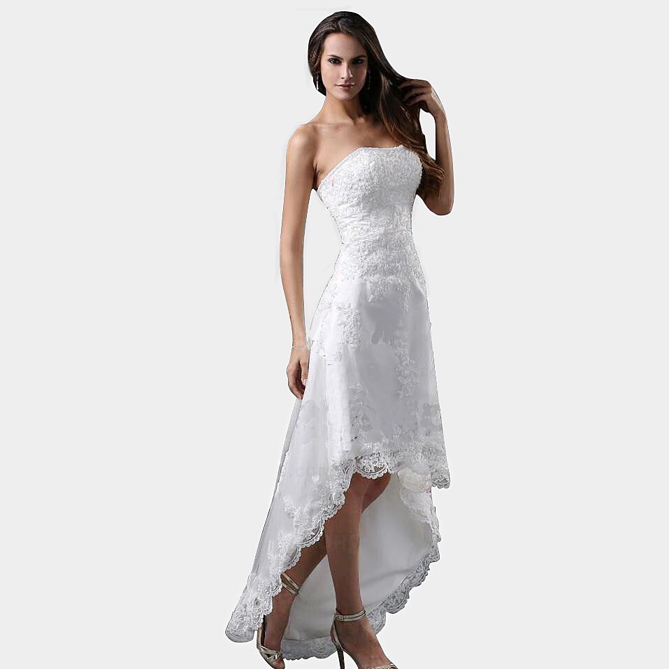 Robe De Mariage Sexy Strapless High Low Lace White Short