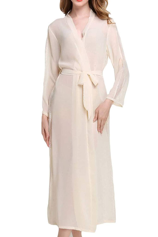 Asherbaby Women Pajama,Kimono Robes Soft Sleepwear Long Knit Bathrobe Nightwear Pure Color Silky Nightgown Sets Sexy