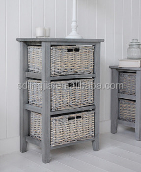 Grey Wicker Basket Organizer Drawer Cabinet Wooden CD Storage Drawer