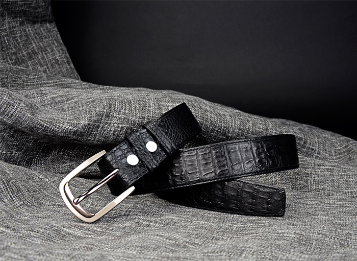 Classic Men Crocodile/Aligator Leather Belt With Stainless Steel Buckle