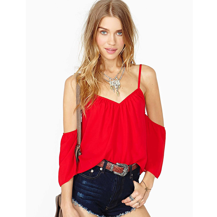 2015 Summer New Chiffon Camis Women Fitness Halter V neck Sleeveless Half Backless Sexy Red Top Fashion Tank Top for ladies