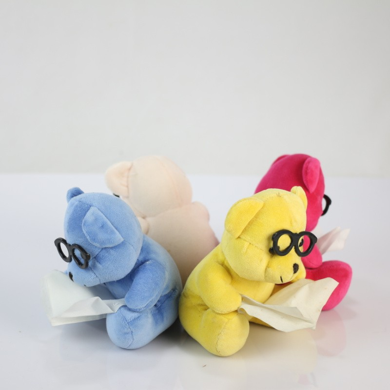 Plush Toy Teddy Bear Wearing Black Glasses/Luck Soft Colorful Toy Bear with Glasss/Stuffed Toy Sitting 14cm High Bear