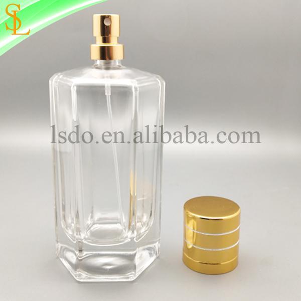 六角形新香水瓶印刷カスタムデザイン化粧品包装香水瓶ガラス香水ゴールド噴霧器とキャップ