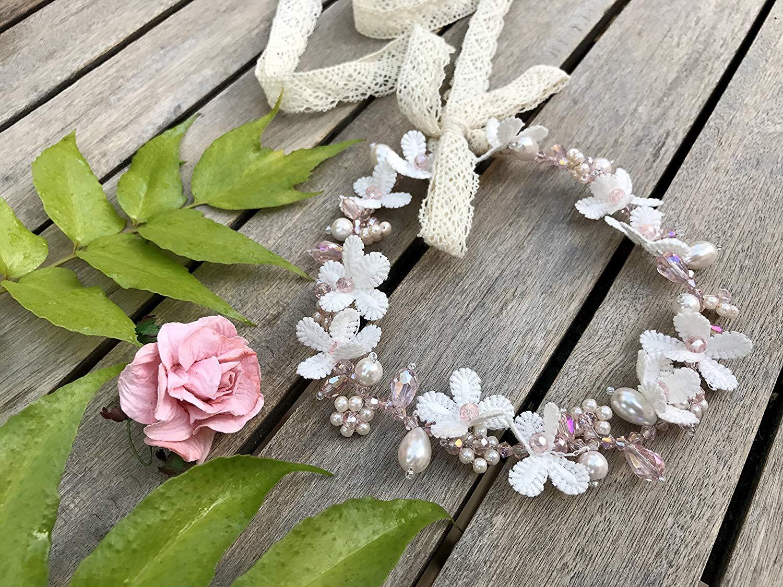 Savvi Jewels Pink Wedding Headpiece, Flower Crown, Bridal Headpieces, Bridal Flower Crown, Bridal Headband, Floral Crown, Flower Headband, Wedding Flower Crown