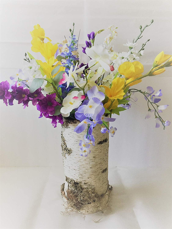 Silk Faux Floral arrangements,Silk modern Flower in tall natural birch bark, Spring Flower Arrangement, Mixed Floral Bouquet,Tall Birch Bark