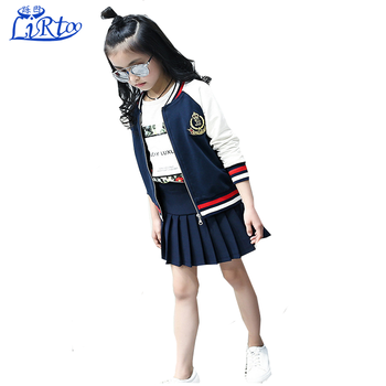 bf28636fc67 Spring 2017 Children s Clothing School Uniform Coat with Skirt Suit Baby Girl  formal Clothes Set Girls