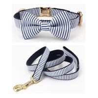 Classic striped Dog Collar Bow Tie Dog Cat necklace with metal buckle