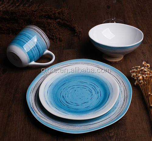 Super white body 16pcs island shape with in-glaze fasion design wholesale dinner set-SHZ7708