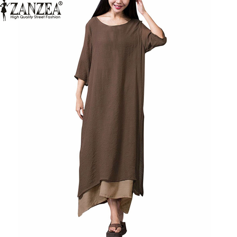 ZANZEA Fashion Cotton Linen Vintage Dress 2016 Summer Autumn Women Casual Loose Boho Long Maxi Dresses
