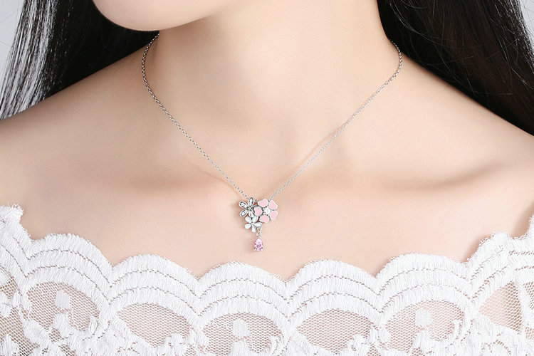 925 Sterling Silver Pink Heart Blossom Cherry Flower 45CM Pendants & Necklaces Women Sterling Silver Jewelry