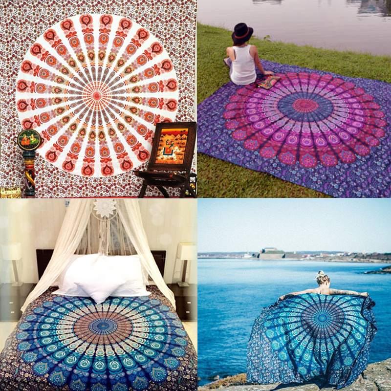 Vintage Indian Boho Round Picnic Throw Towel Yoga Mat Blanket Home Decor Hippie Tapestry Wall Hanging Tapestries Beach 210*148cm