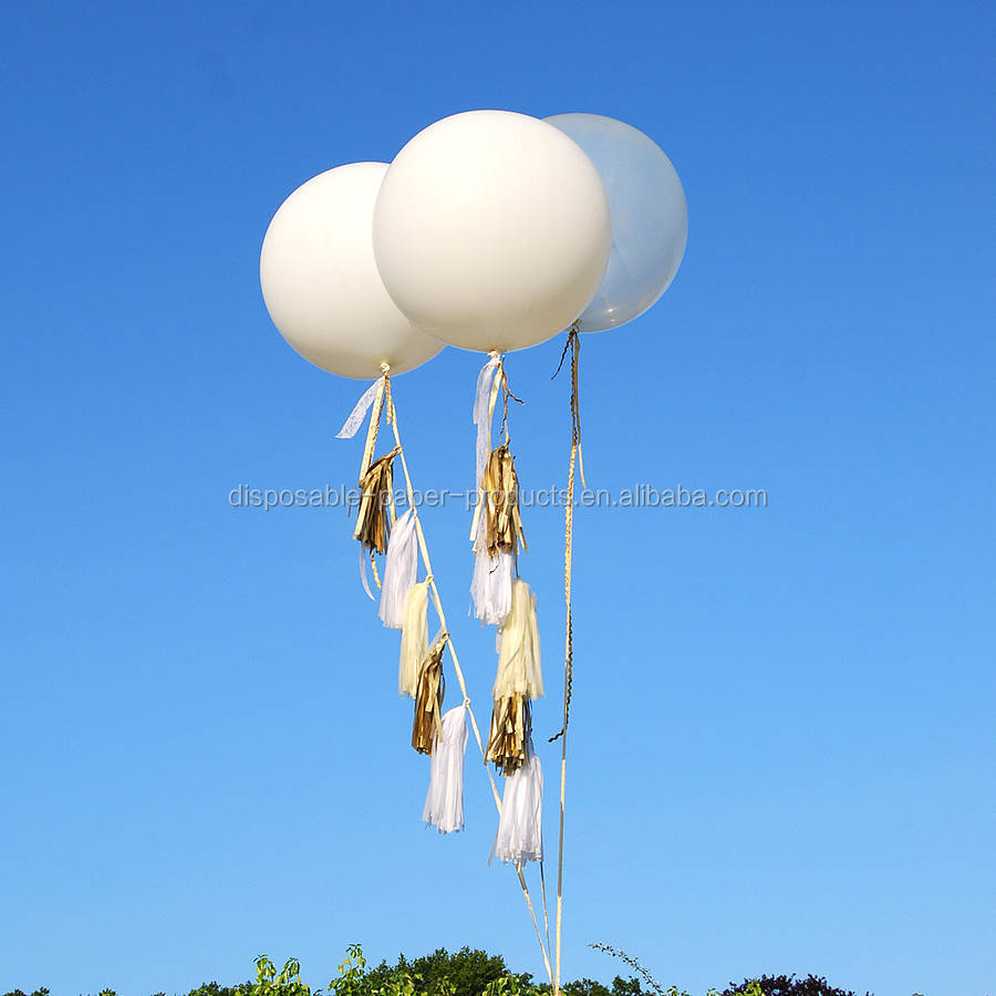 New Party Decoration Ideas Giant Round Tasselled Helium Balloon Jumbo Balloon with Tassels Tails White and Clear