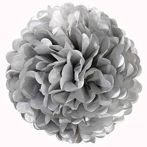 "Silver Tissue Paper Flowers (10"", 3 Pack) - Birthday Party Paper Tissue Pom Poms, Indoor/Outdoor Wedding Hanging Paper Pom Poms, Tissue Flower Decorating Balls"
