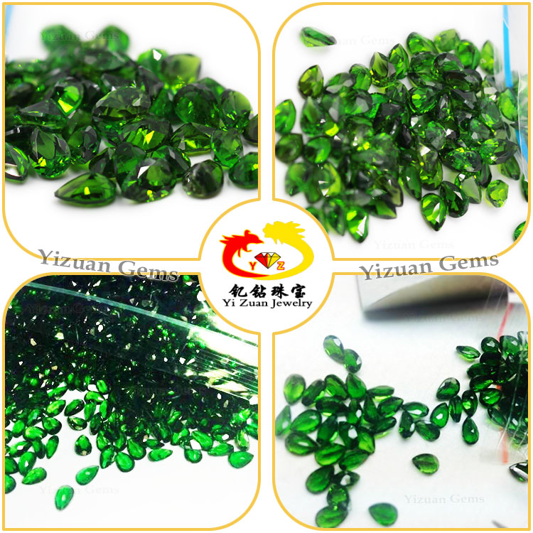 Small size Supply Natural pear faceted cut Chrome diopside