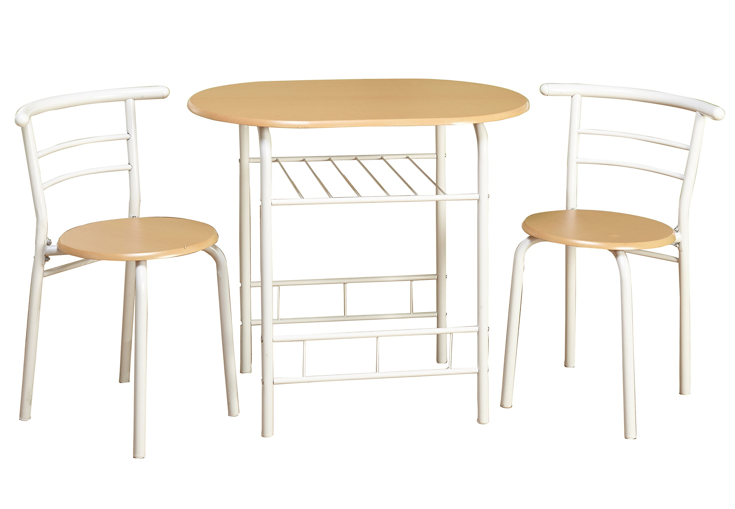 Target Marketing Systems 3 Piece Two-Toned Bistro Dining Set with 2 Mid-Back Chairs and 1 Round Pedestal Dining Table, White/Natural