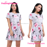Factory Price Casual Flower Pattern Shift T Shirt Summer Dress
