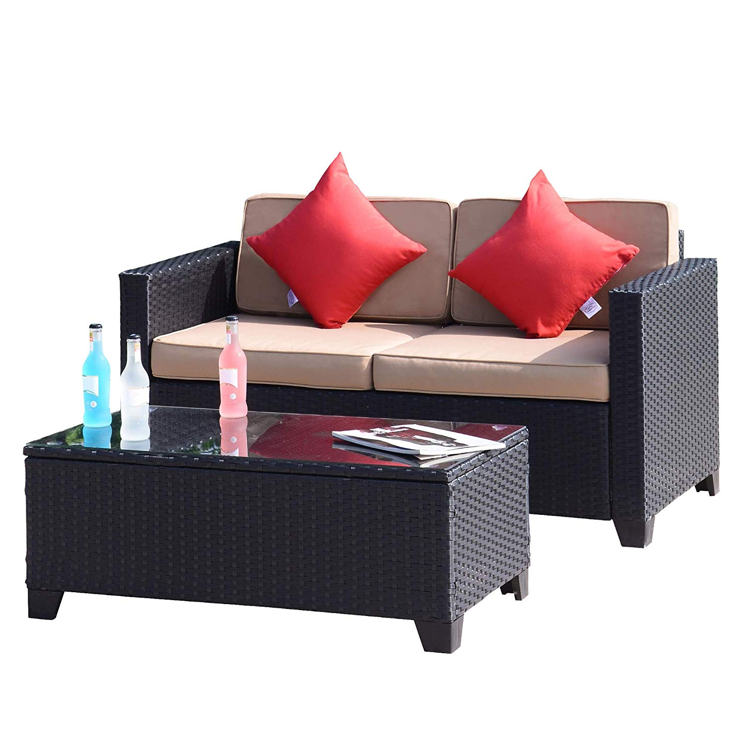 FurniTure Outdoor Wicker Love Seat Set 2 PC Patio Rattan Set Garden Rattan Wicker Sofa Set Table Seat, Black Wicker with Khaki Cushions
