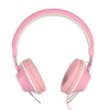 Beautiful Mic Volume Control Pink Headphones With Leather & Cloth Headband