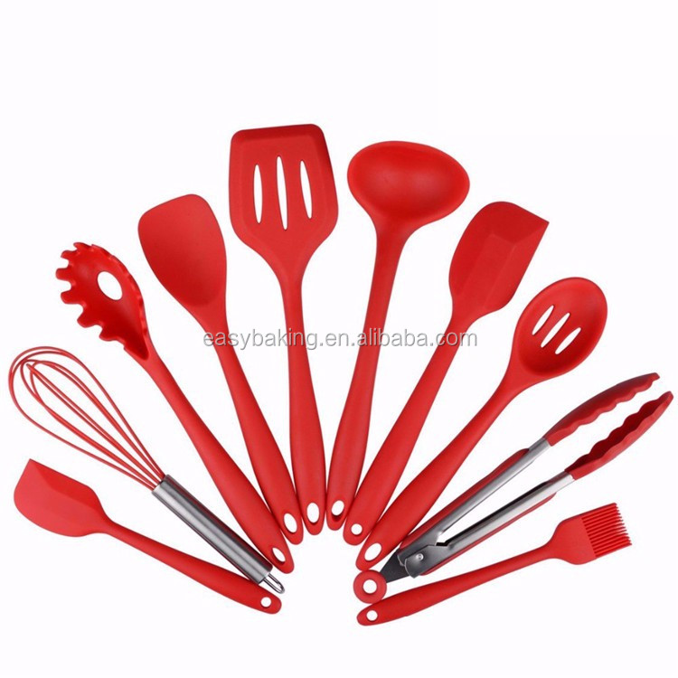 Silicone Kitchen Utensils, 10 Piece Cooking Utensil Set Spatula, Spoon, Ladle, Spaghetti Server, Slotted Turner. Cooking Tools.jpg