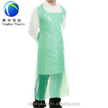 Convenient Disposable Green LDPE Plastic Aprons