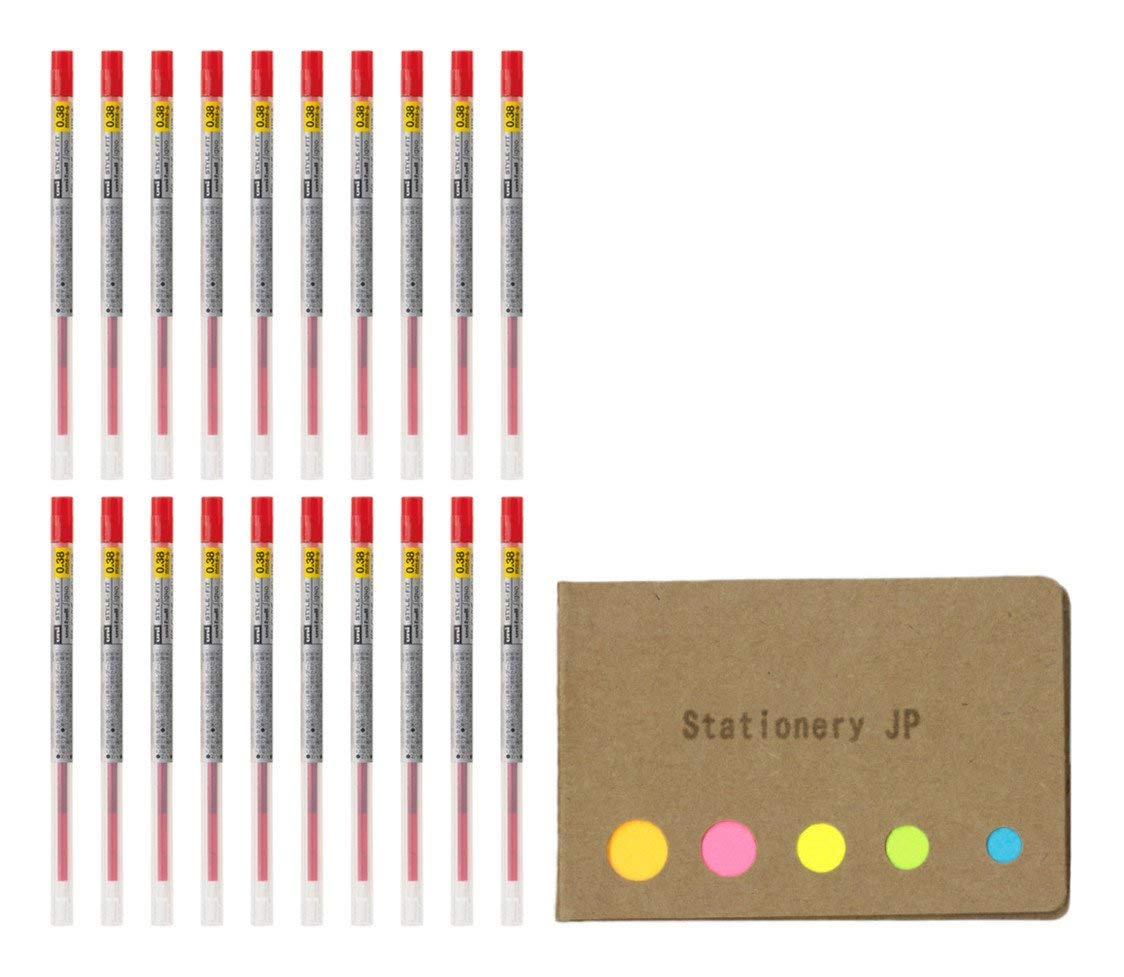 Uni-ball Signo Gel Ink Refills for Uni Style Fit Gel Multi Pen 0.38mm Red Ink, 20-pack, Sticky Notes Value Set