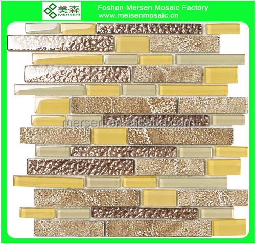 Gold yellow Corrugated Glass Mix Stone Mosaic Tile TV Background Wall Design SJ506