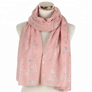 New Design Pink White Sliver Foil Animal Pet Dog Print Scarf For Womens