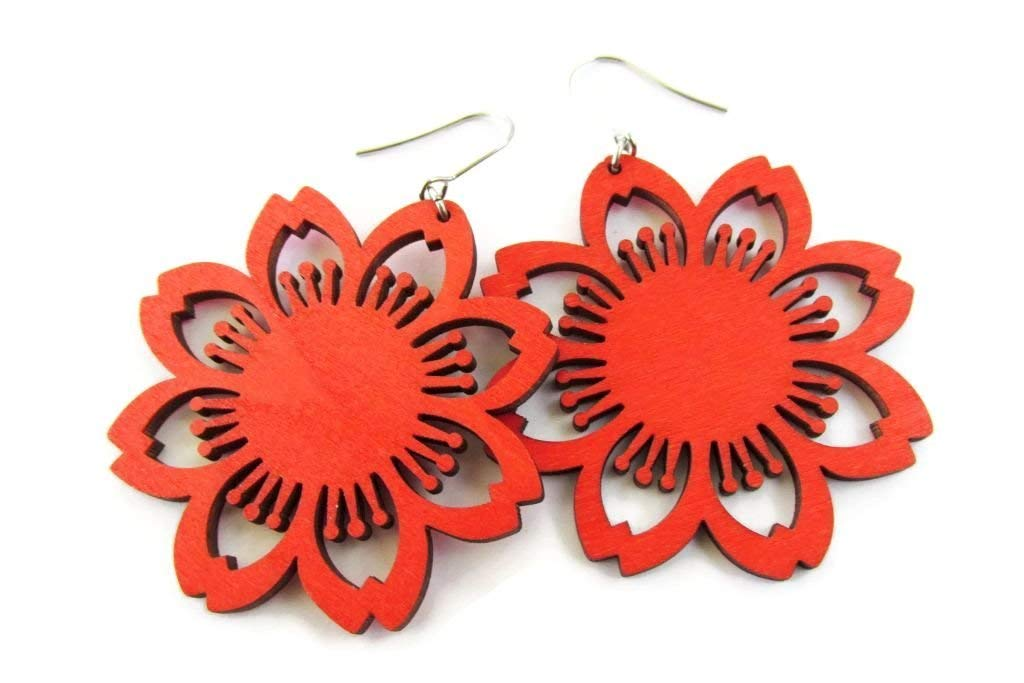 Lightweight Laser Cut Red Coloured Tropical Flower Lazer Cut Wooden Earrings for Women