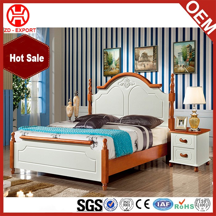 white luxury bed solid wood bedroom furniture king queen
