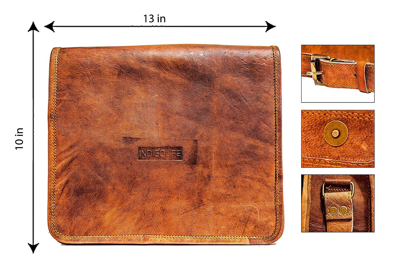 """Valentines Day Gifts 13 Inch Genuine Leather Messenger Handmade Bag Laptop Bag Satchel Bag School Bag 13 X 10"""""""
