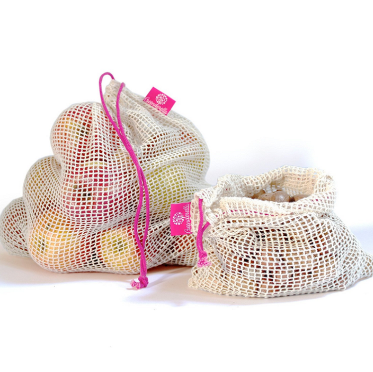 Wholesale eco-friendly reusable shopping grocery organic cotton mesh produce net bag