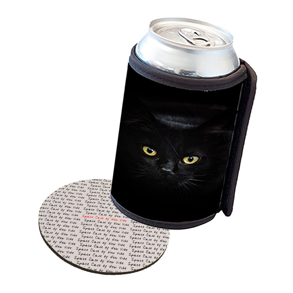 Space Case by New Vibe Can Cooler Koozie - Black Cat