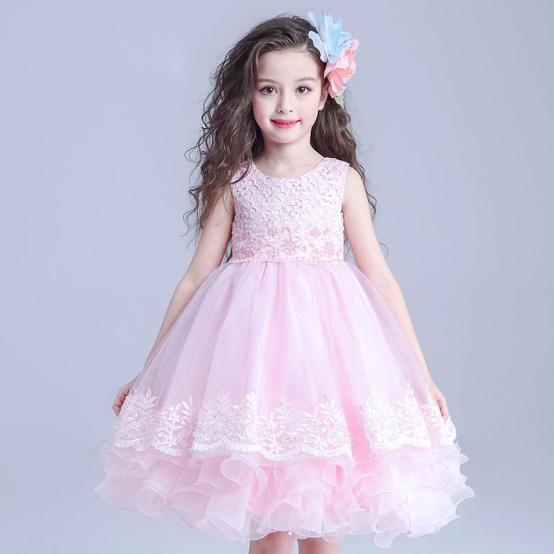 5f5e51124 2016 أحدث أنماط اللباس زهرة فتاة الزفاف الرسمي صافي فساتين أطفال حزب اللباس  S1607