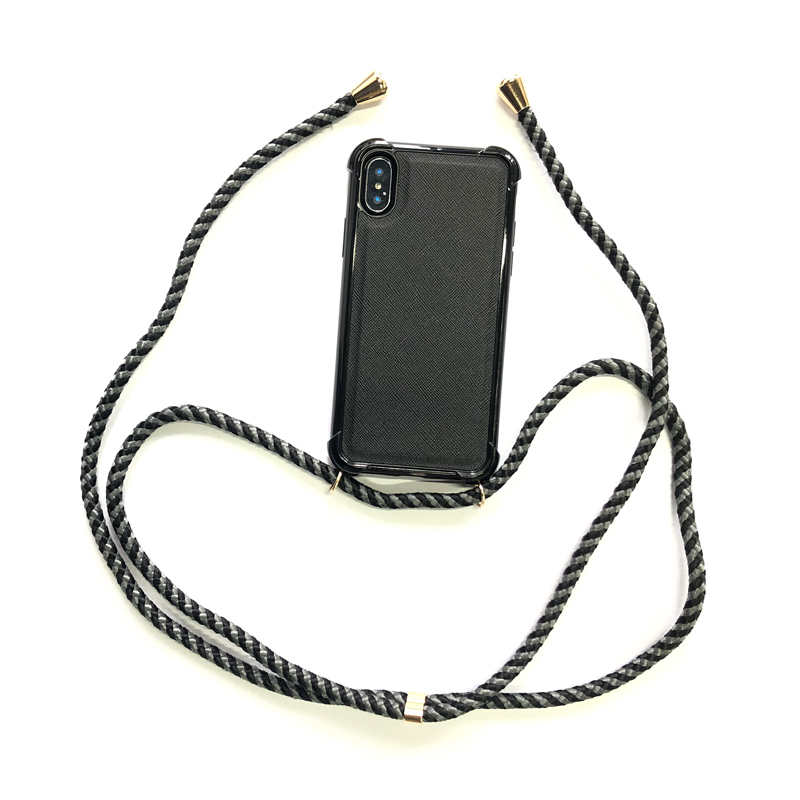 leather phone case for iphone xs with shoulder 6.0mm PPM cord