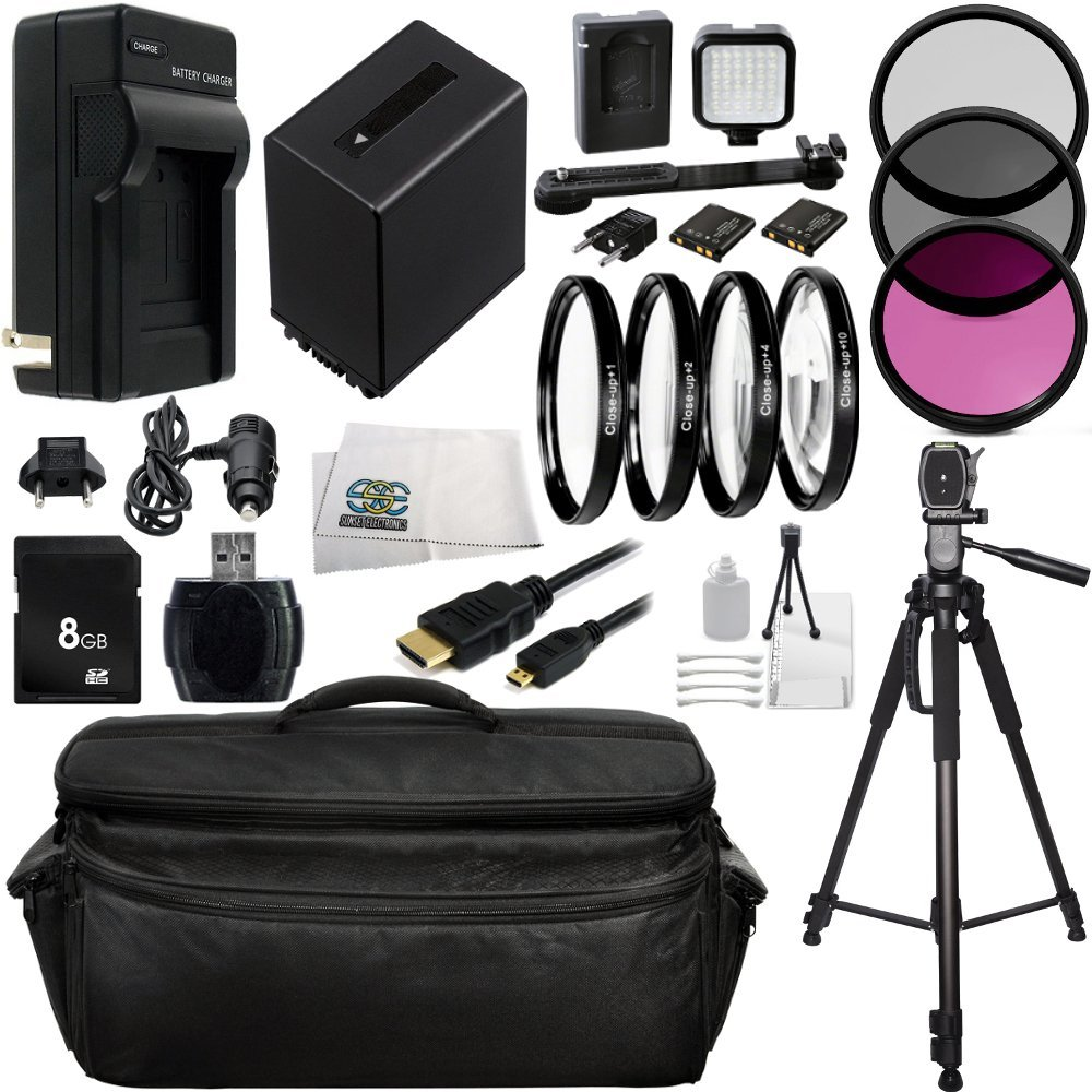 Professional Sony NEX-VG10, NEX-VG20, NEX-VG30 Ultimate 8GB Accessory Package Kit. Includes 8GB Memory Card + High Speed Memory Card Reader + Replacement FV-100 Battery + AC/DC Rapid Home & Travel Charger + 3PC Filter Kit (UV-CPL-FLD) + 4PC Macro Filter Set (+1,+2,+4,+10) + LED Video Light Kit +