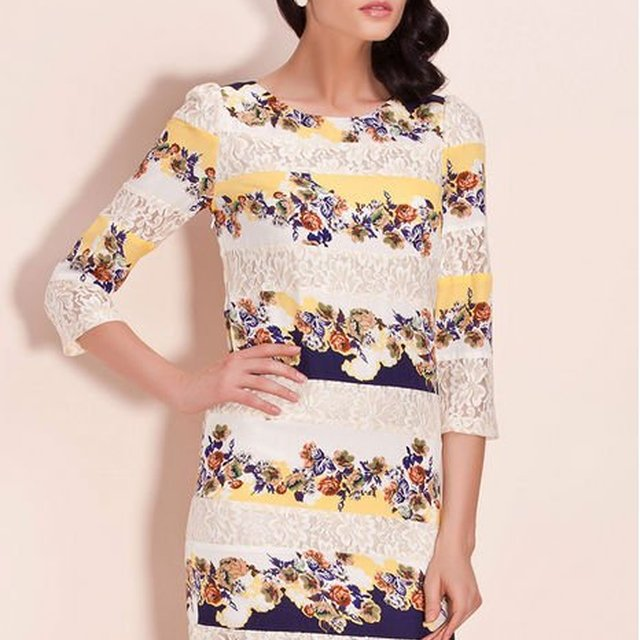 dddeb152264 lace splite joint floral printed slim fit tunic long sleeve o-neck dress  for 2013