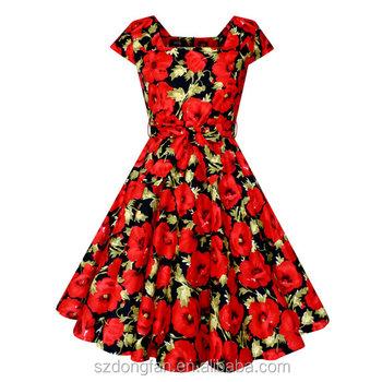 Neue Design Frauen Vintage Rose Floral Christmas Kleid Rockabilly ...