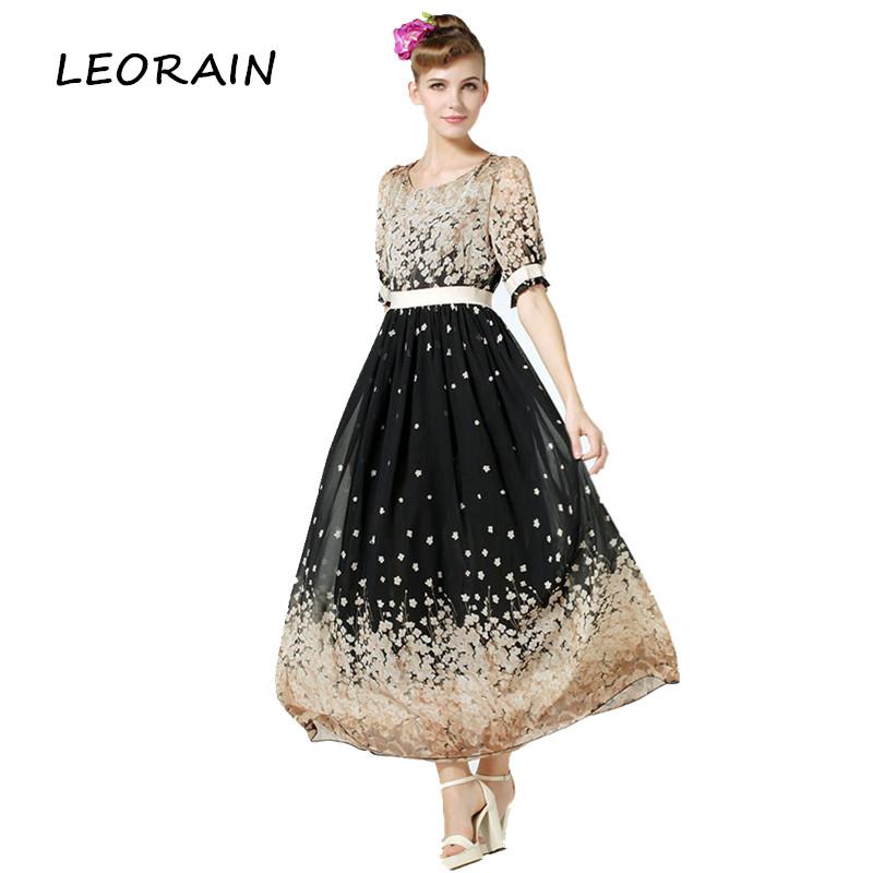mxl plus size new bohemian style fashion printed chiffon maxi beach woman dress