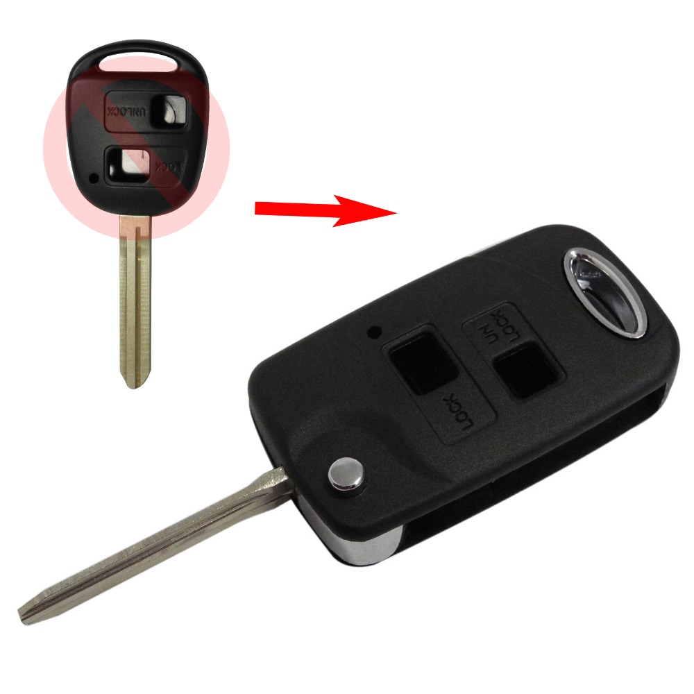 2 Buttons Folding Remote Car Key Case for Toyota Camry Echo Avalon Corolla RAV4 Car Key