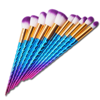 Factory price beauty makeup tools blue powder brush 10pcs synthetic hair makeup brush set free sample