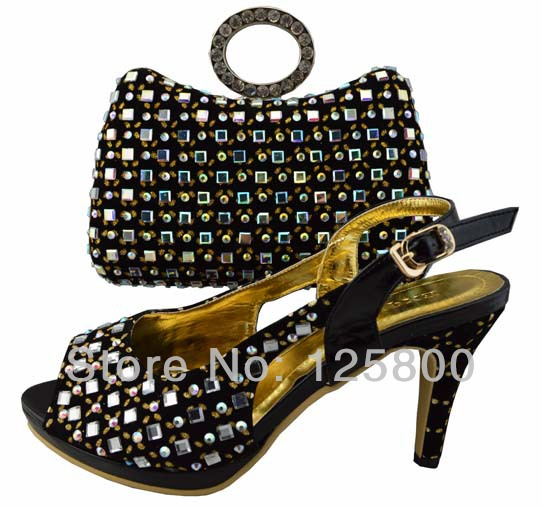 Ladies Gold Shoes And Matching Bag