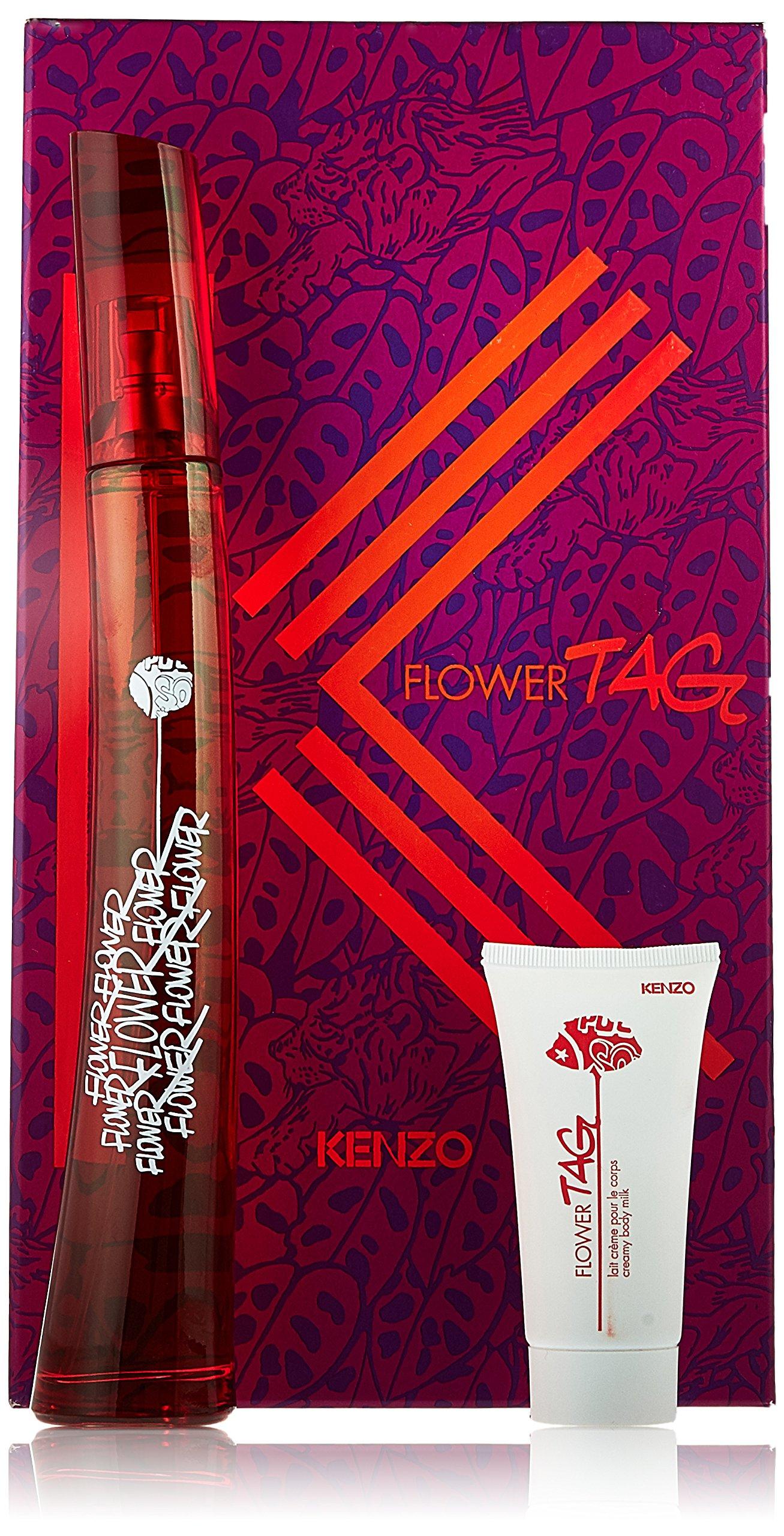 54668dbd8 Get Quotations · Kenzo Flower Tag 3 Piece Gift Set for Women (Eau de  Toilette Spray Plus After