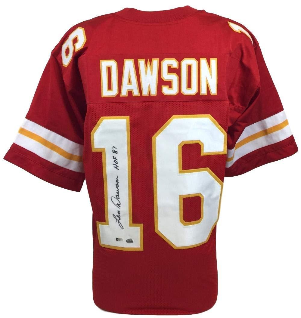 Get Quotations · Len Dawson Chiefs Signed Custom Red Jersey Inscribed HOF  87 Beckett 135781 338cee11a